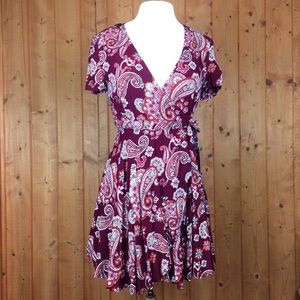 Like New Forever 21 Paisley Print Wrap Dress M